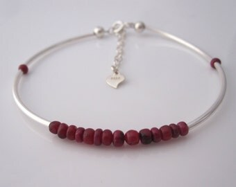 Natural red RUBY gemstone sterling silver bracelet, healing, July birthstone bracelet