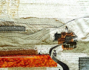 Neutral landscape textile art for living room