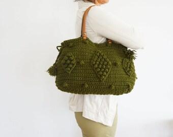 BAG // Tote Handbag Leather Bag Leather Tote leather handbag Handmade Bag Girlfriend Gift  Christmas gift Khaki Green Bag