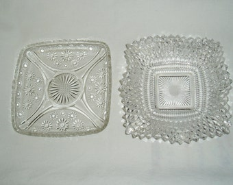 Two Square Crystal Dishes, Diamonds, Floral