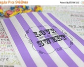 """XOXO SALE 100 Personalized Purple Stripe Party Favor Bags, """"Cheredy Amore's 1st Birthday"""", 75 Stripe Party Straws, Black, Purple, Teal"""