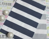 XOXO SALE 100 Navy and Silver Sailor Stripe Favor Bags, Navy and Silver Wedding Candy Bags, Nautical Favor Bags, Baby Shower Treat Bags