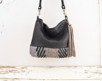 Purse in Black Grey Chevron Weave / Shoulder or Crossbody Purse in Textured Leather  - Made to Order