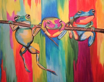 Three Colorful Frogs