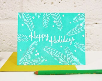 Tropical Happy Holidays! on White Paper / Letterpress Printed Card