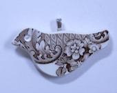 Brown Floral BirdPendant Hand Cut Broken China Silver Plate Bail #489