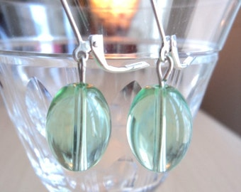 Earrings made with Green Transparency Glass Beads