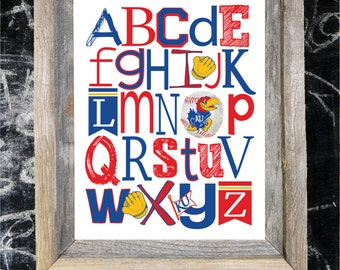 KANSAS JAYHAWKS Team ABC Nursery Art Print