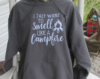I Just Want to Smell Like a Campfire embroidered hoodie