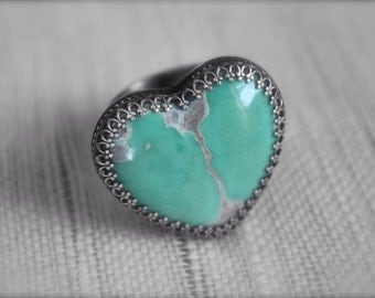 Variscite Heart Stone set in Sterling Silver- Ring Size 8.75