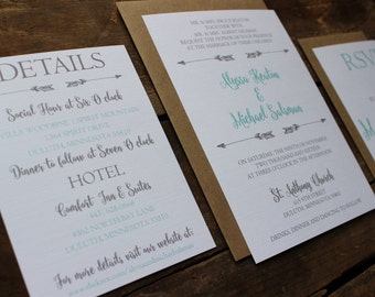 Rustic, Kraft and Mint, Aqua Wedding Invitation Set, Calligraphy Font with Arrows, Neutral with Twine