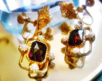 Garnet Seed Pearl Edwardian style Earrings,Screw Back Gold Garnet Earrings