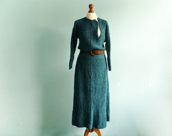 Vintage Knit Emerald Green Dress Knitted / Long Sleeve / Thick Warm / Fall Winter / Maxi Long / medium