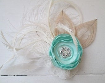 Mint Green Rose & Ivory Peacock Feather Fascinator, Bridal Flower Head Piece, MINT, Champagne, Rustic Country Bride, Kentucky Derby