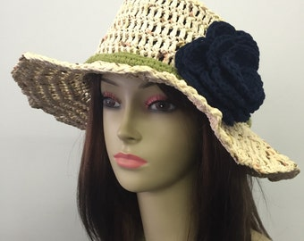Crochet Summer Hat w/Removable Flower Pin_Multi Ivory