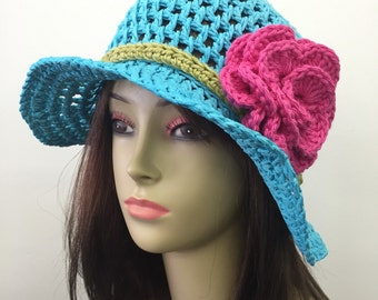 Crochet Summer Hat w/Removable Flower Pin_Teal