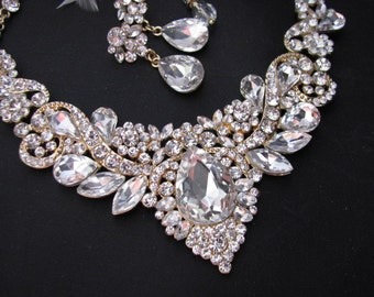 resv for  Angel Piazza Sparkle Statement Wedding Necklace in Gold tone Great Bridal Wedding Jewelry Pageant Jewelry