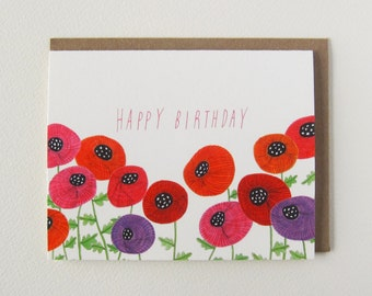 Birthday Card, Flower Birthday Card, Birthday Card for Her, Poppy Flower Art, Floral Art Notecard, Folded Notecard, A2, Red, Pink, Purple
