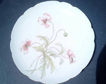 Antique H & Co. French Limoges Porcelain Dinner Plate Hand Painted Red and Green Floral Pattern EX Condition