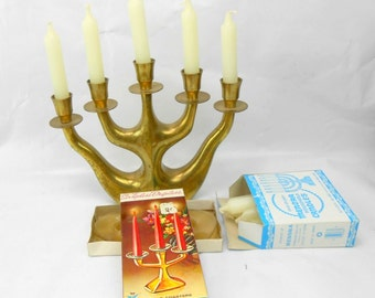 Vintage brass Menorah with candles candle coasters Handy Dandy kosher Menorah candles chippy crusty tarnished dinged Menorah