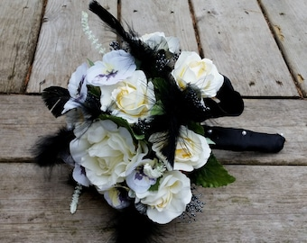 Bridal Bouquet black feathers, ivory silk budget wedding flowers Fall Halloween accessories gothic bride bokay boutonniere Ready to Ship