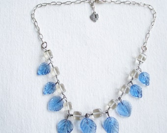 Vintage Sterling Silver Link Necklace with Blue Crystal Glass Leaf Charms