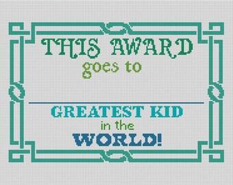 Worlds Greatest Kid Needlepoint Canvas