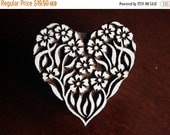 THANKSGIVING SALE Pottery Stamps, Indian Wood Stamp, Textile Stamp, Wood Blocks, Tjaps, Printing Stamp- Floral Heart