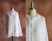 vintage 1970's white boho crocheted fringe poncho sweater cape / size os