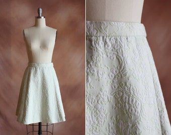vintage 1960's pale green floral jacquard high waisted a line skirt / size xs