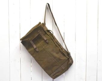 Army Duffel Bag 1930s Vintage KMA MvO Military Thick Green Canvas Single Strap Shoulder Bag