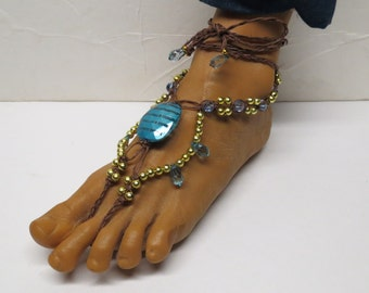 CLEARANCE! Pair of Brown, blue, and gold fancy barefoot sandals made with hemp.  Beach and bellydance fashion. HFT-A261