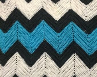Chevron Baby Boy Blue Blanket