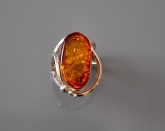 HandCrafted Baltic Amber  Ring Adjustable