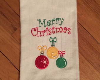 Merry Christmas cotton terry velour hand towel