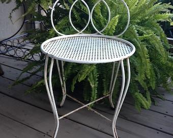 white metal vanity set. White Metal Vanity Stool Vintage Garden Seat  5750 seat Etsy