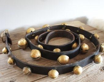 7 Foot Antique Brass Sleigh Bells - 23 Brass Horse Sleigh Bells - Long Antique Brass Sleigh Bells On Leather Strap - Christmas Sleigh Bells