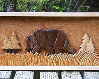 Hardwood Papa Bear Intarsia Wall Art