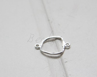 One Piece / S925 Sterling Silver / Connector / Organic Square (4155)