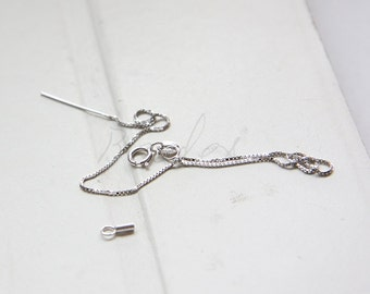 One Piece / White Gold Tone / 925 Sterling Silver /  Box Chain Bracelet / with Ending