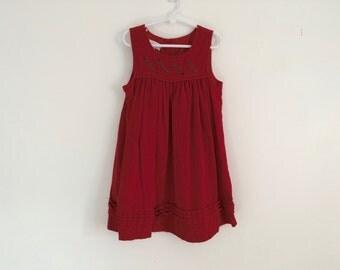 1980s GIRLS red velvet dress / folk embroidered / hippie dress