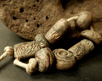 8 large assorted stoneware beads with an ancient patina, primitive, gypsy, organic, rustic..#1875.