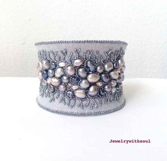 Bead embroidery cuff bracelet, bead embroidered bracelet, beaded cuff bracelet with freshwater pearls and seed beads in grey - Winter lace