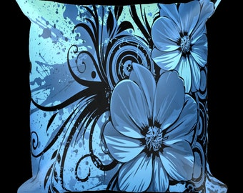 Abstract Flowers Designer Throw Pillow