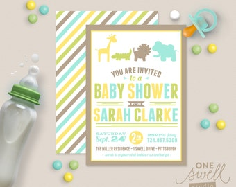 Jungle Themed DIY Printable Birthday Party or Baby Shower Invitation