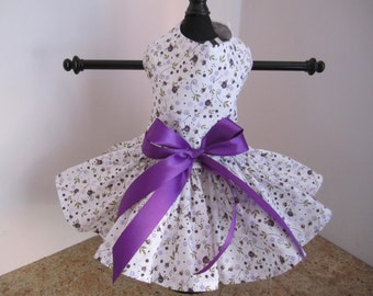 Dog Dress  XS Lavender and Purple Wildflowers   By Nina's Couture Closet