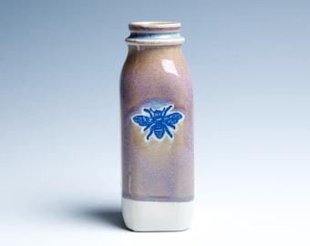 Ceramic Porcelain Vase / Milk Bottle / Small / Gold and Lavender Bee