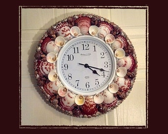 Sea Shell Wall Clock-Calico Scallops, Beach/Coastal/Nautical Decor, Wedding/Housewarming/Anniversary Gift