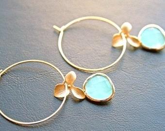 Gold Mint Earrings. Hoop Earrings. Flower Earrings. Orchid Earrings.Bridesmaids.Wedding.Bridal Jewelry.Simple Earrings. Dangle Earrings.Gift