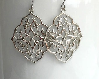 Silver Filigree Pendant Earrings, Simple Earrings, Everyday Jewelry, Statement Earrings, Long Earrings, Big Earrings,Silver Dangle Earrings.